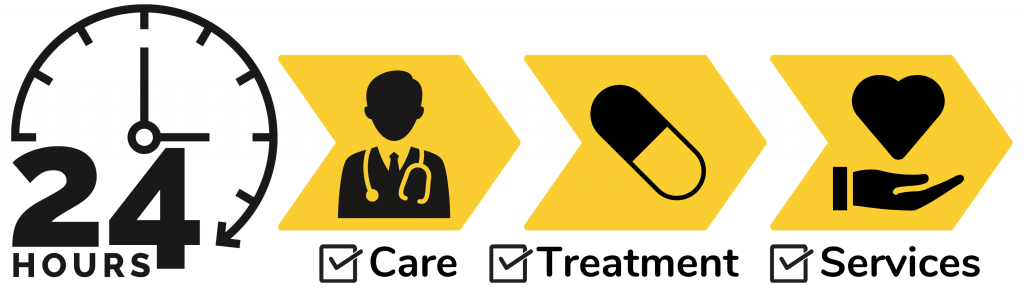 24 hours to care, treatment, and services